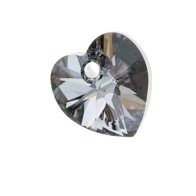 Swarovski Crystal, #6228 Heart Pendants 10mm, 6 Pieces, Crystal Silver Night