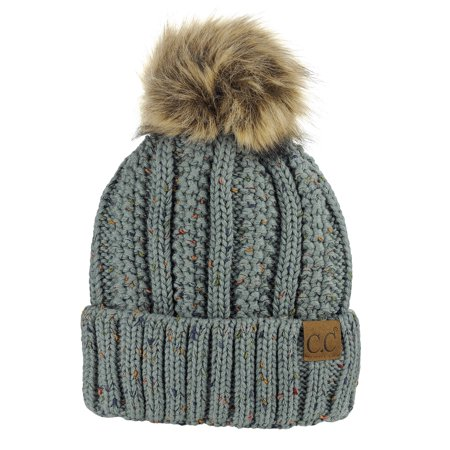 3d9cf72136f C.C Thick Cable Knit Faux Fuzzy Fur Pom Fleece Lined Skull Cap Cuff Beanie