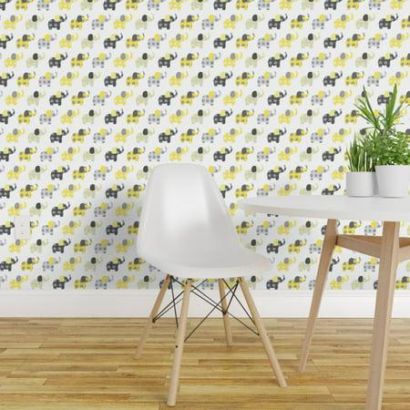 Wallpaper Roll Yellow + Elephants Nursery Animals Circus Decor Baby 24in x 27ft ()