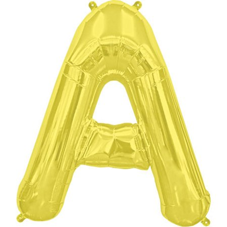 """Northstar Alphabet Letter A Shape Solid Air-Fill 16"""" Foil Balloon, Gold"""