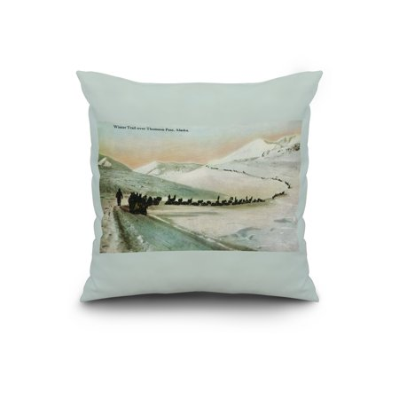 Alaska View of Winter Trail Climbers 20x20 Spun Polyester Pillow Custo
