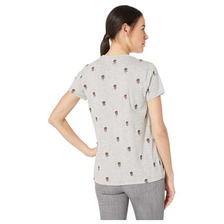 Lucky Brand All Over Embroidered Tee Heather Grey Grays Embroidered T-shirt