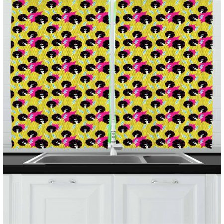 Disco Party Curtains 2 Panels Set, Retro 80s Theme Girls with Black Curly Afro Hair and Polka Dots Funky Pop Art, Window Drapes for Living Room Bedroom, 55W X 39L Inches, Multicolor, by Ambesonne - Disco Theme
