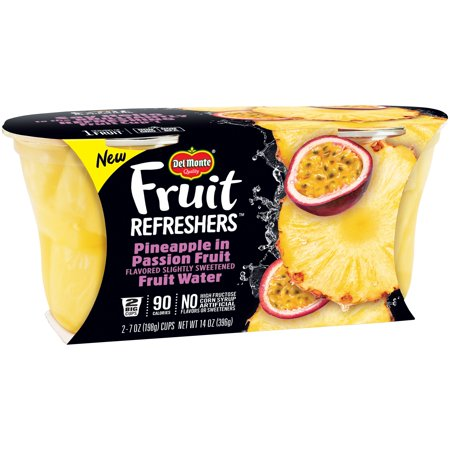 Del Monte Fruit Refreshers Pineapple in Passion Fruit Water, 7 oz Cup, 2 Count Box