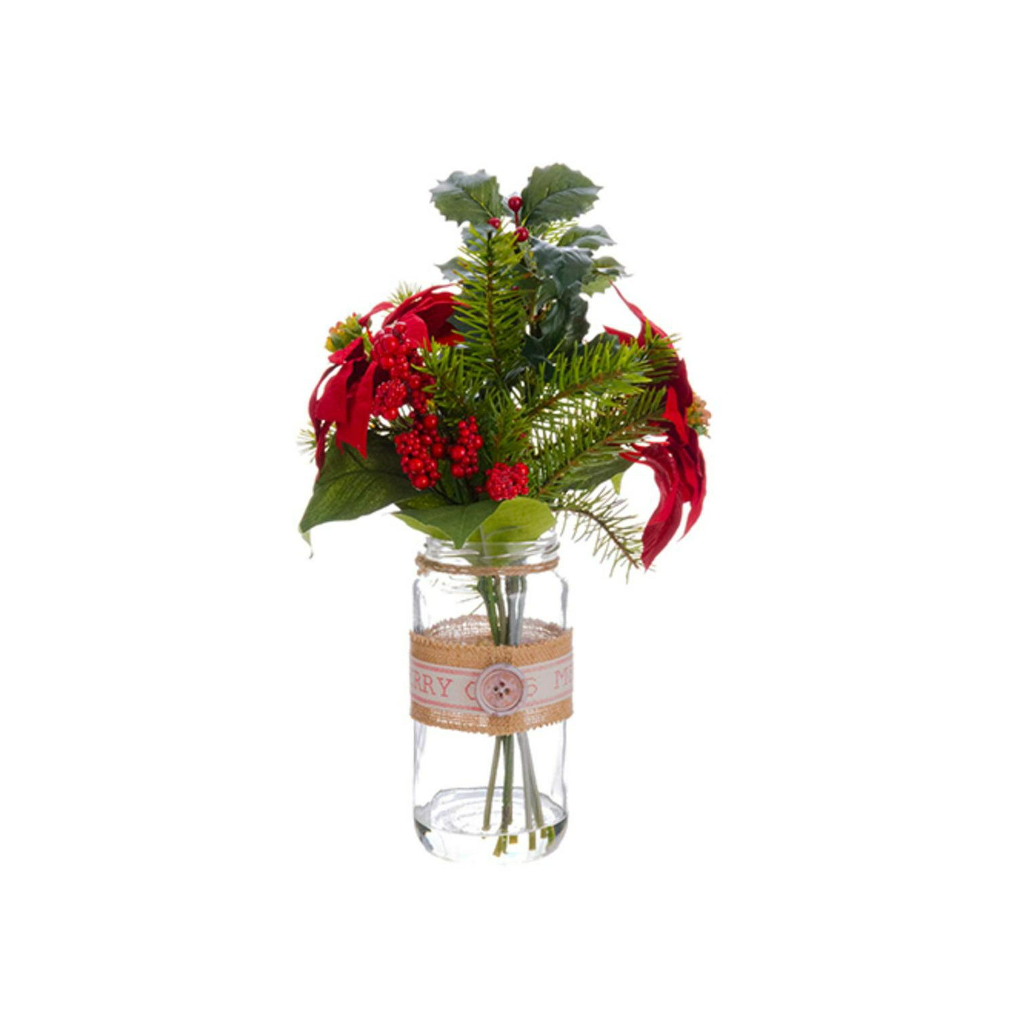 """Bouquet De Noel Avec Du Houx 16.5"""" artificiel poinsettia rouge, houx et pin arrangements de noël avec  vase en verre"""