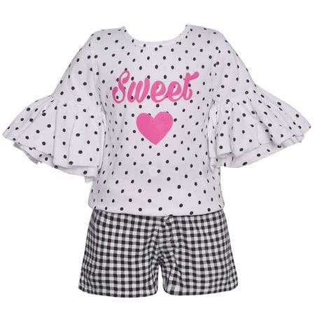 Girls Black White Dot Flared Sleeve Checkered 2 Pc Shorts Outfit 14-16 (Pc Powder Checker)