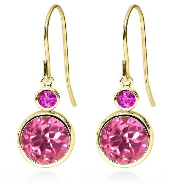 4.96 Ct Round Pink Mystic Topaz Pink Sapphire 14K Yellow Gold Earrings by