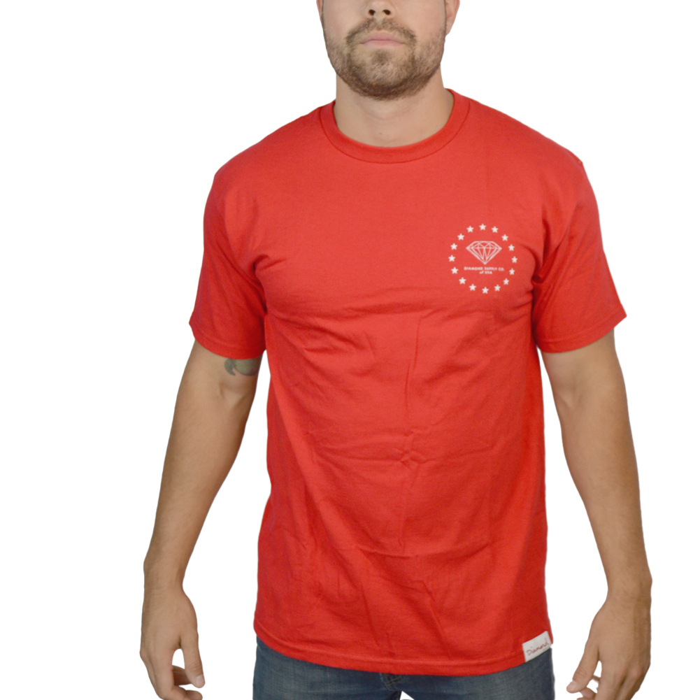 Diamond Circle Stars Red Licensed T-shirt  NEW Sizes S-4XL