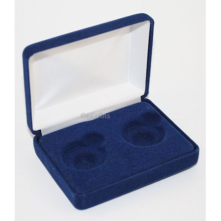 Blue Felt COIN DISPLAY GIFT METAL BOX holds 2-Quarters or Presidential $1
