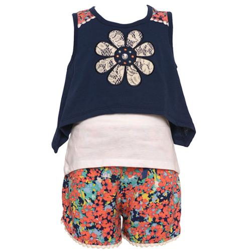 Little Girls Navy Coral Floral Applique Print Tank Top Shorts Outfit 4-6X
