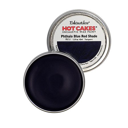 Enkaustikos Hot Cake Encaustic Wax Paint, 1.5 oz. Tin, Pthalo Blue Red