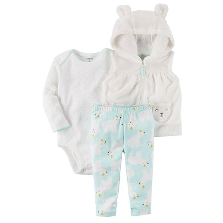 Carters Infant Girls Polar Bear Baby Outfit Sweater Vest Bodysuit & Leggings