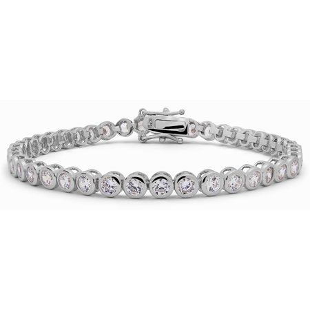 KEZEF Rhodium Plated Sterling Silver 3mm Fancy Cut Round Cubic Zirconia Bezel Set Tennis Bracelet Bridal Wedding Jewelry -