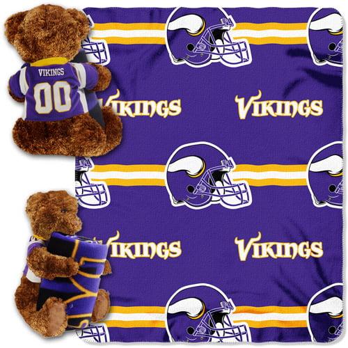 NFL Minnesota Vikings Bear Throw/Pillow Combo