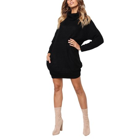 Ladies Chunky Knitted Sweater Womens Long Sleeve Baggy Cowl Polo Neck Jumper Winter Top Dress ()