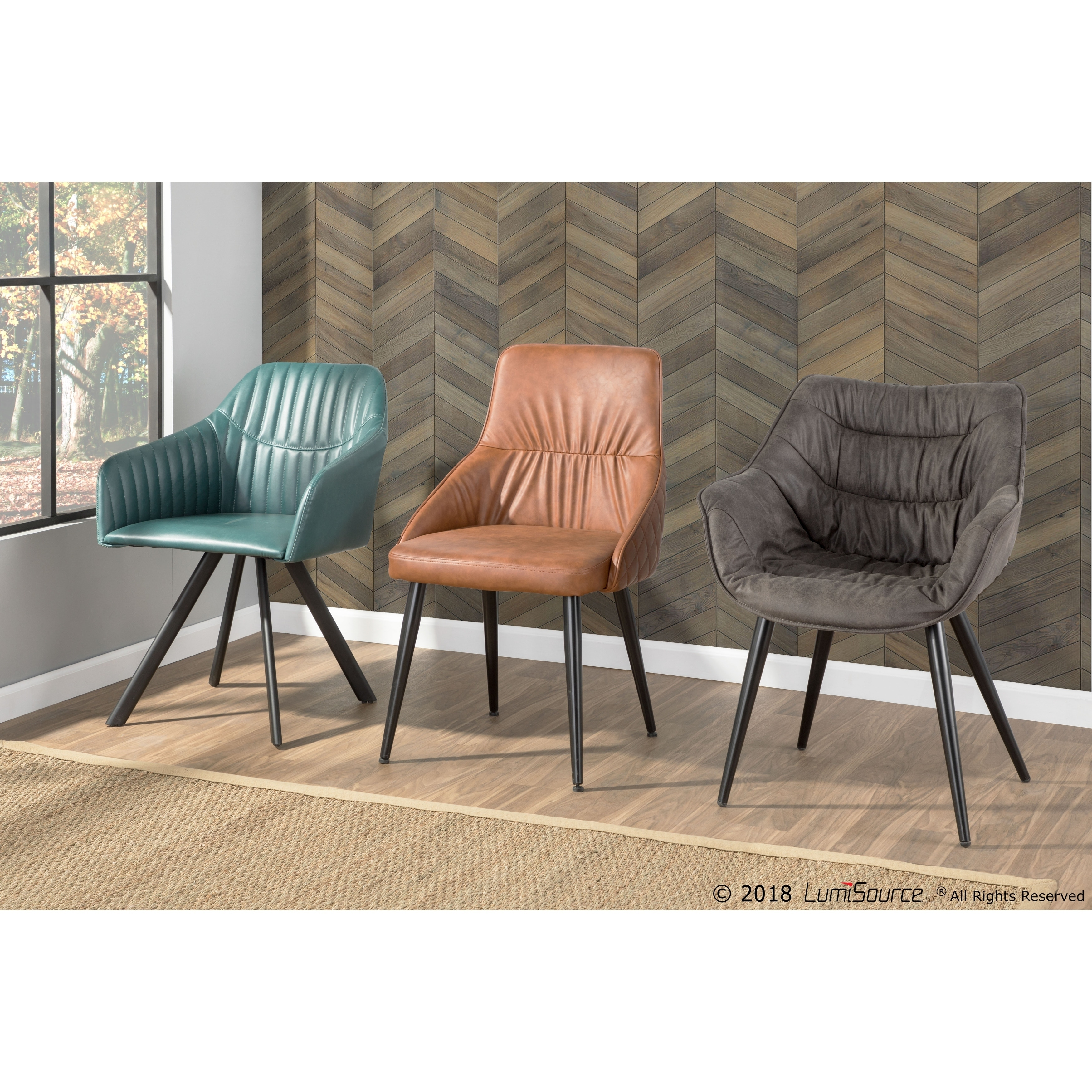 Alden Contemporary Dining/Accent Chair in Brown Faux Leather with Quilted Backrest by LumiSource - Set of 2