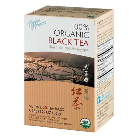 Prince of Peace 100% Organic Black Tea Sachets, 20 (Tea 20 Sachets)