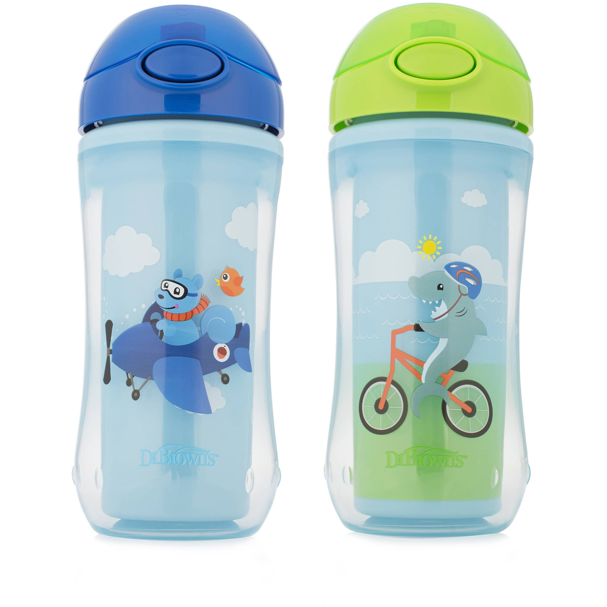 Dr. Brown's On-The-Go Straw Sport Cup, Boy Squirrel/Shark, BPA-Free, 10 oz, 2-pack Assorted (Stage 5)