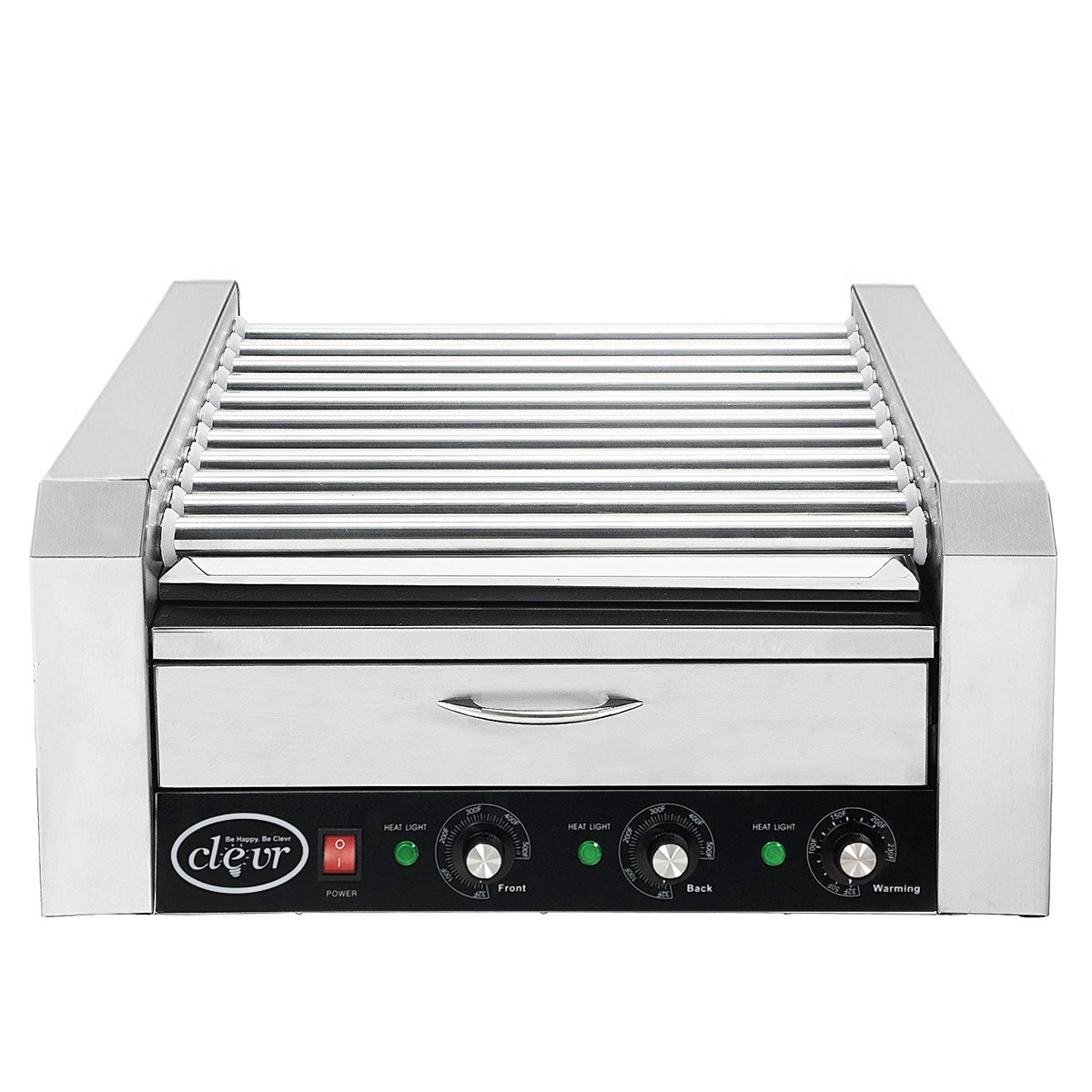 Clevr Commercial 11 Roller and 30 Hotdog Machine with Bun Warming Drawer, Hot Dog Grill Cooker Roller