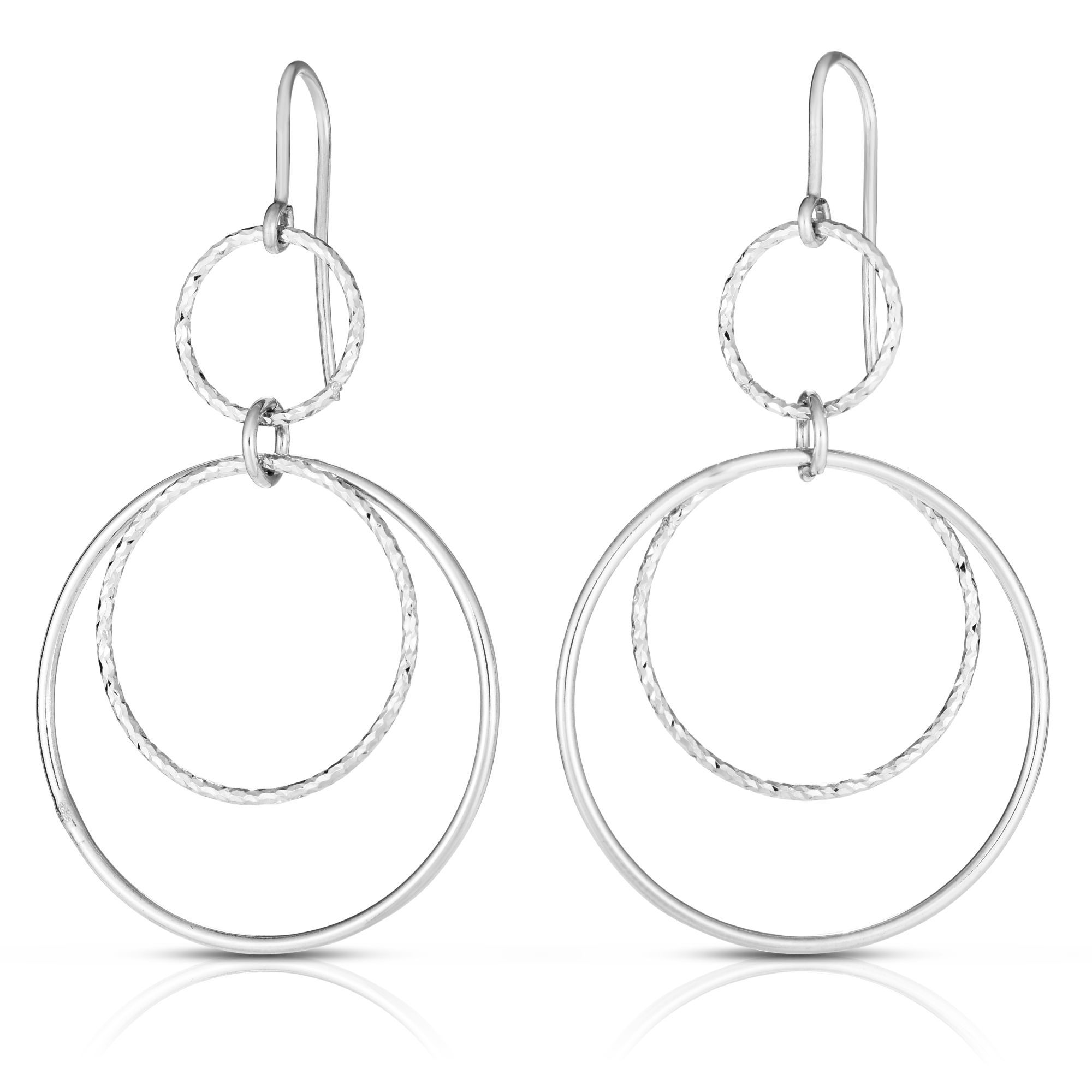 Silver with Rhodium Finish 4.0mm Shiny Textured Round Hoop Huggies Earring