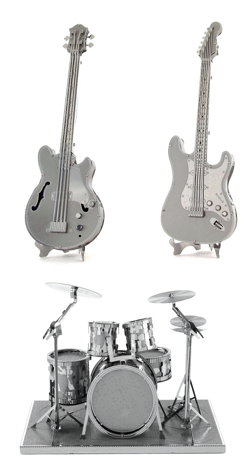 3D Models Drum Set, Bass Guitar AND Lead Electric Guitar SET OF 3 by Metal Earth