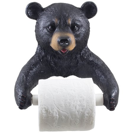 Decoration For Toilet (Decorative Black Bear Toilet Paper Holder Bathroom Wall Decoration for Hunting Lodge or Cabin by Home 'n)