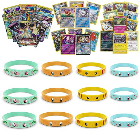 Playoly Pokemon Premium Collection Ultra Rare with 100 Pokemon Cards - 12 Pokemon Bracelets Inspired by Pikachu Charmander Squirtle - Squirtle With Shades