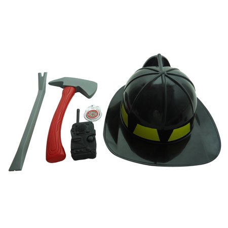 5 PC Black Fireman Rescue Costume Plus Plastic Fire Gear Accessories for Kids