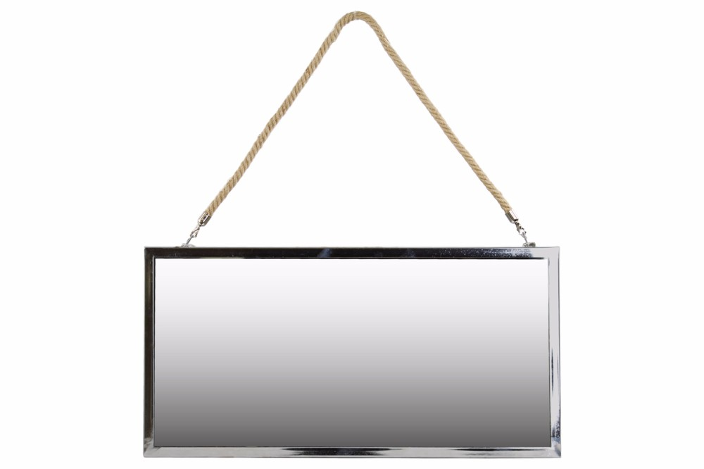 Stainless Steel Rectangular Mirror with Rope Hanger Large Silver Benzara by Benzara
