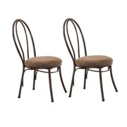 Copper Metal & Microfiber Kitchen Dinette Dining Side Chairs (Set Of Two)