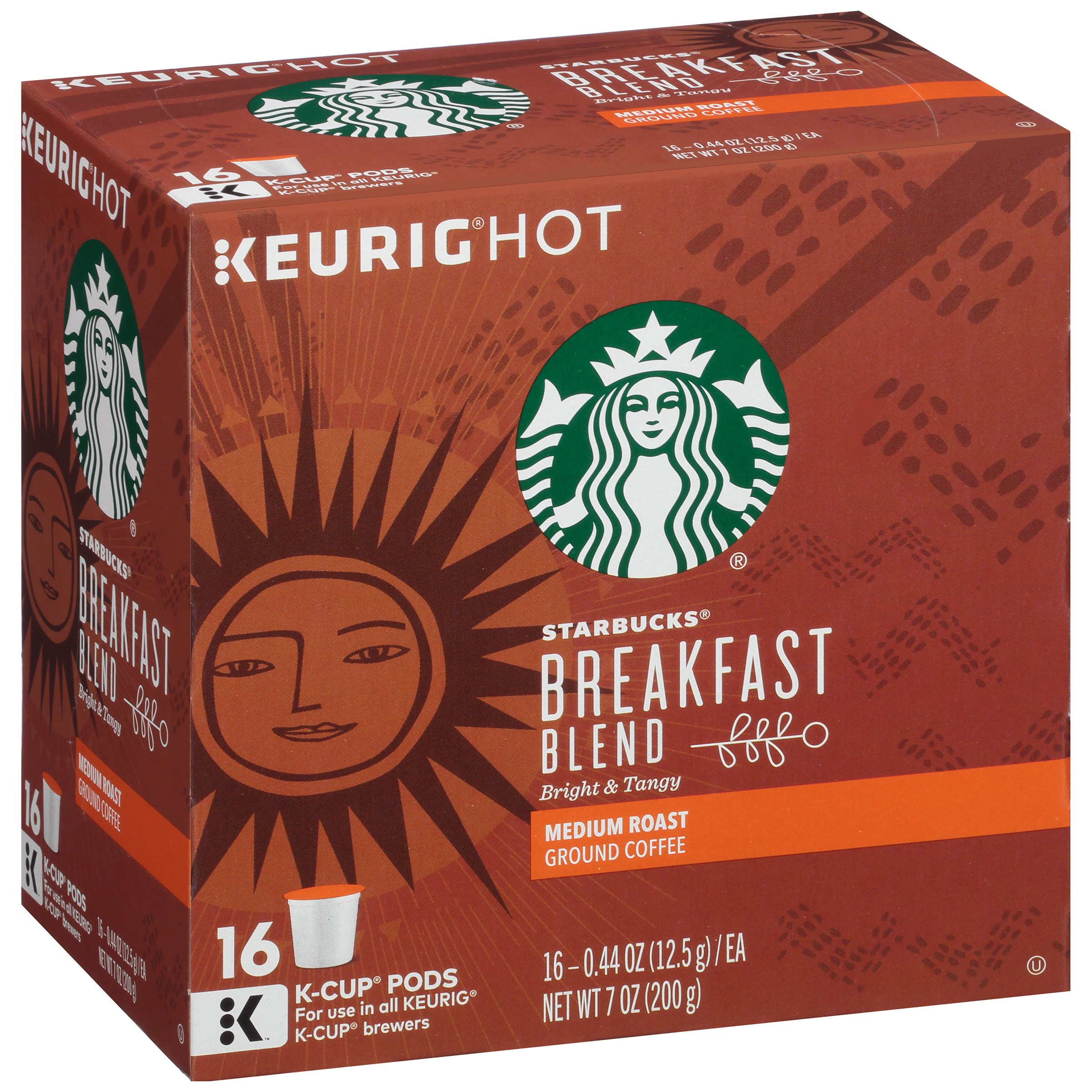 Starbucks Keurig Hot Breakfast Blend Medium Roast Ground Coffee, 0.44 oz, 16 count