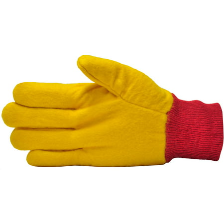 G & F Heavyweight Yellow Chore Gloves, Double Layered, Large, 3 Pair