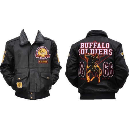 Big Boy Buffalo Soldiers S4 Mens Leather Bomber Jacket [Black - XL]