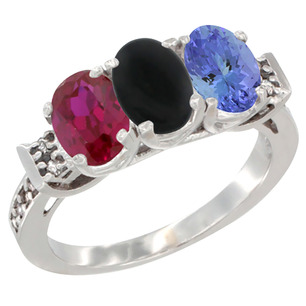 10K White Gold Enhanced Ruby, Natural Black Onyx & Tanzanite Ring 3-Stone Oval 7x5 mm Diamond Accent, sizes 5 10 by WorldJewels