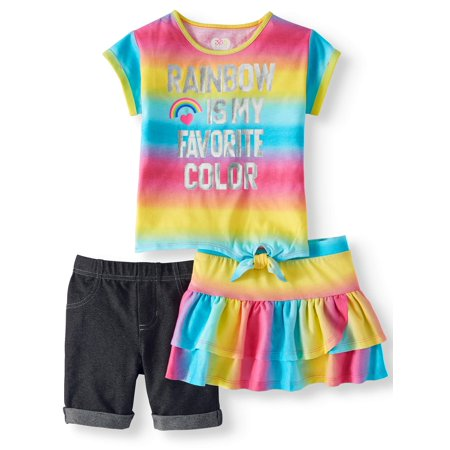 Plus Outfits (Side-Tie Top, Bermuda Short & Skort, 3-Piece Mix and Match Outfit Set (Little Girls & Big)