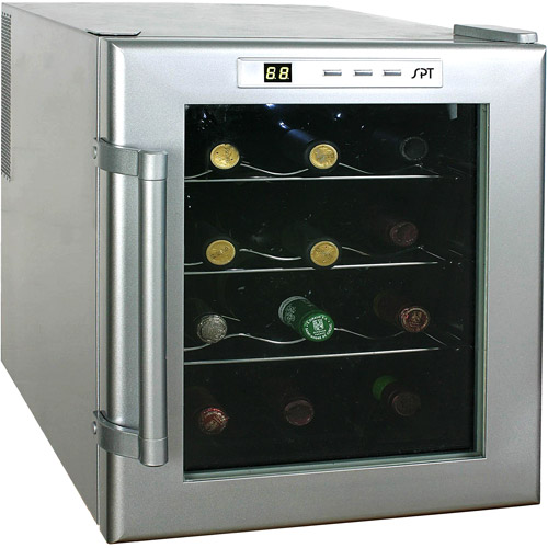Sunpentown 12-Bottle Thermo Wine Cabinet, Platinum