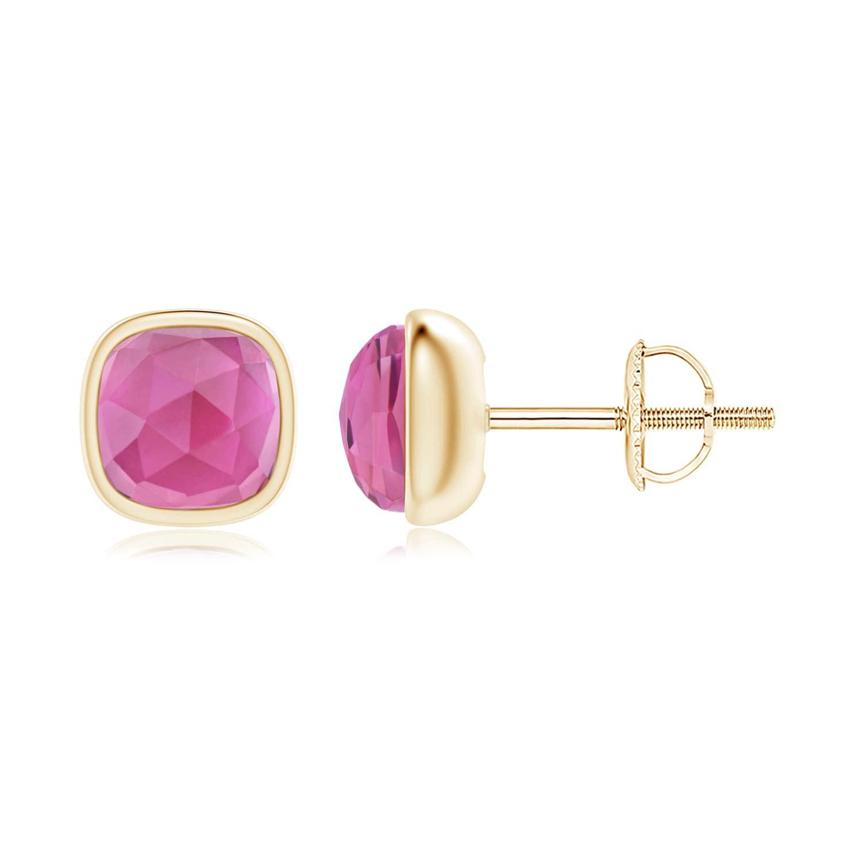 Angara Bezel Set Cushion Pink Tourmaline Solitaire Stud Earrings in Silver by Angara.com