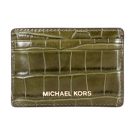 Michael Kors Money Pieces Unisex Small Olive Leather Card Holder (Michael Kors Green)
