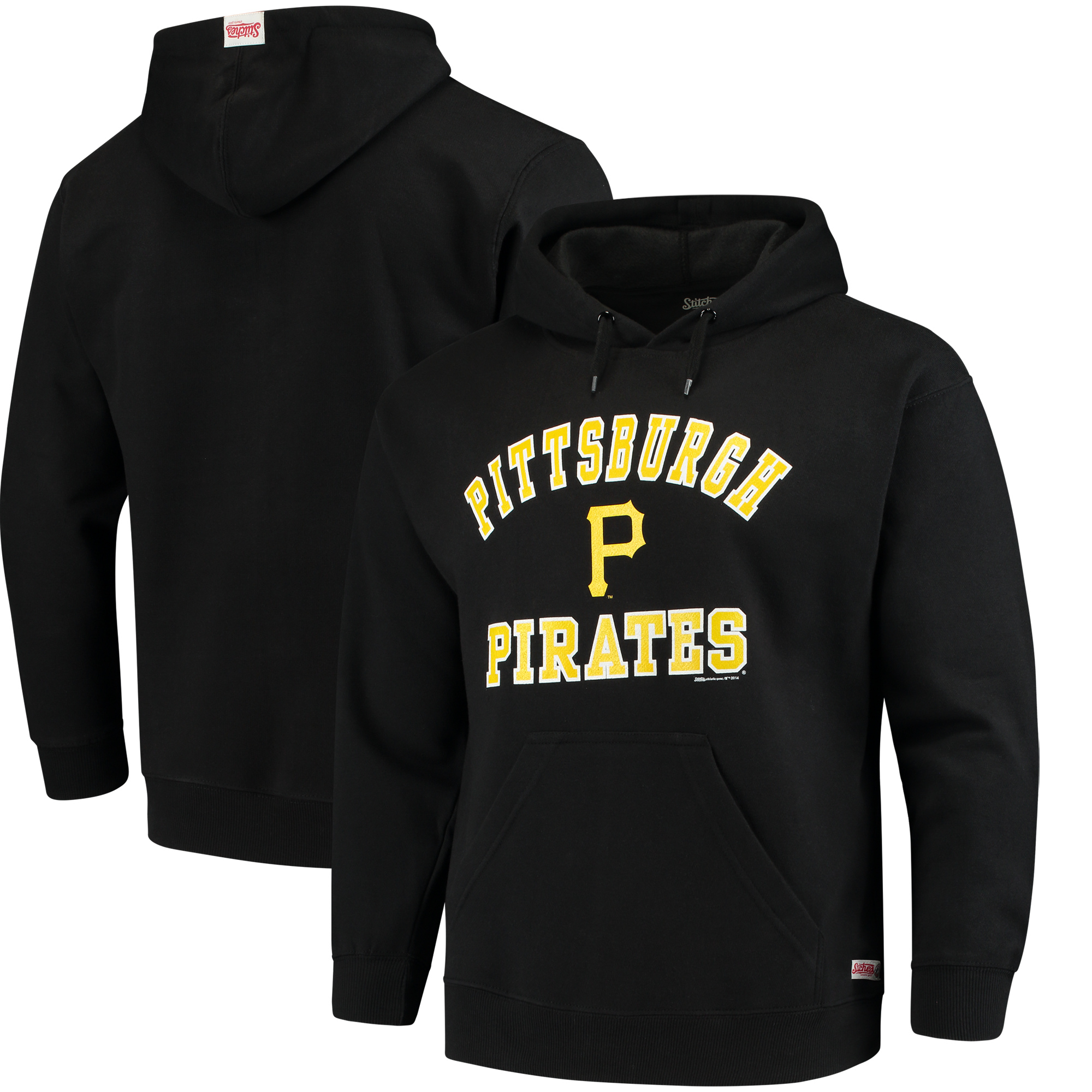 Pittsburgh Pirates Stitches Fastball Fleece Pullover Hoodie - Black