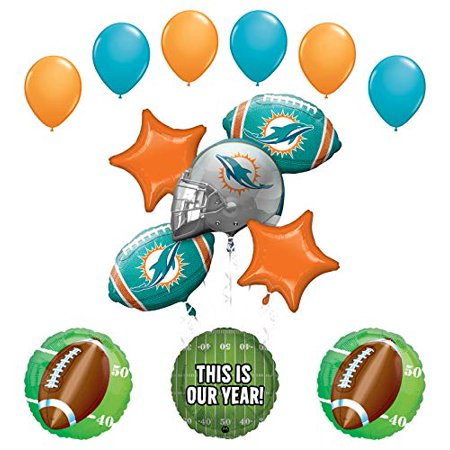 Mayflower Products Dolphins Football Party Supplies This is Our Year Balloon Bouquet Decoration - Miami Dolphins Party Supplies