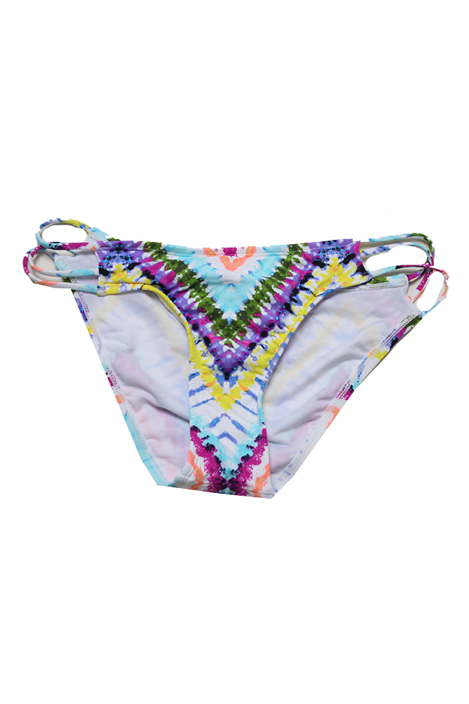 Bar Iii Aqua Multi Dana Tie-Dyed Strappy Hipster Bikini Bottom L