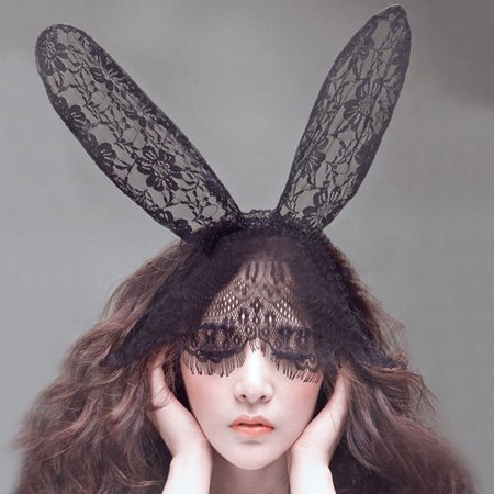 Lace Rabbit Mask (Sexy Rabbit Long Ear Lace Bob Mask Headscarf Halloween)
