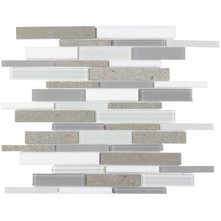 Glass Marble Mosaic (MTO0126 Linear White Cinderella Gray Glossy Thassos Marble Glass Mosaic)
