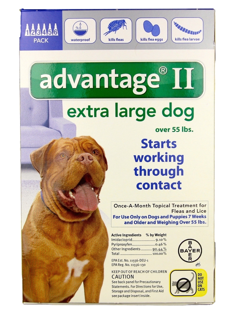 Advantage II Flea Control for Extra Large Dogs (6 count) (6 Pack) by