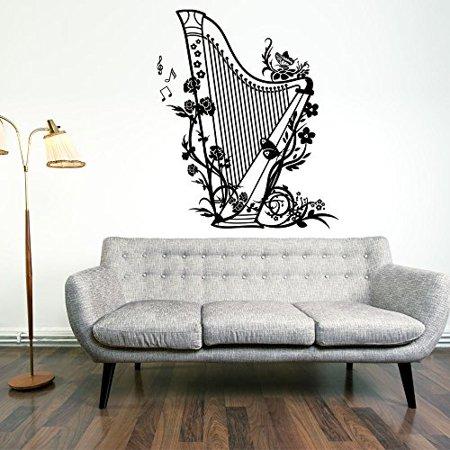 Harp Wall Decal Music Wall Sticker Musical Vinyl Wall Art Home Decor M