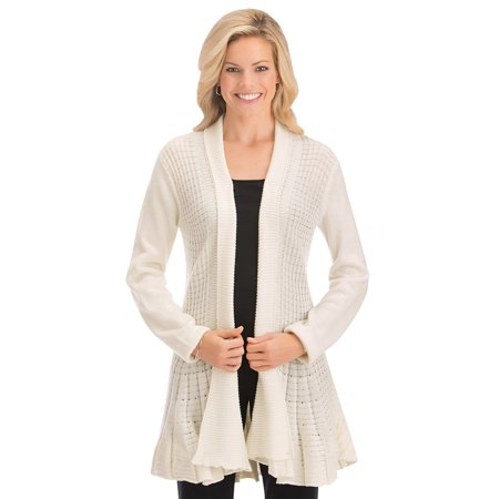 Women's Fit and Flare Long Sleeve Knit Cardigan -Stylish and Flattering, Good for Layering Over Tops, Xx-Large, Ivory