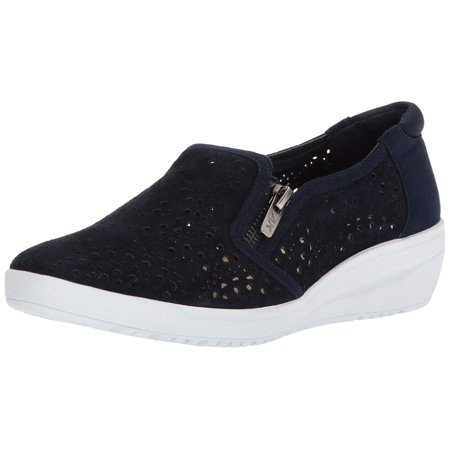 Anne Klein Womens Yvette Leather Low Top Zipper Fashion Sneakers