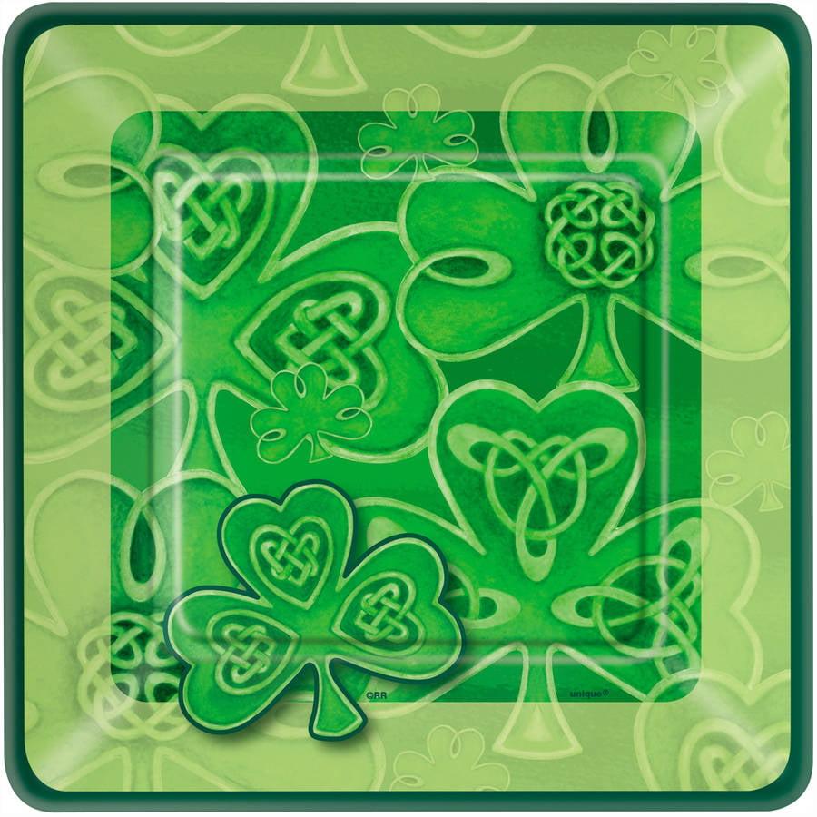 "7"" Square Clover St. Patrick's Day Paper Dessert Plates, 10ct"