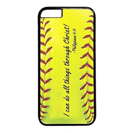 Ganma Softball Christian Bible verse I Can Do Rubber Plastic Black Case Cover Case For iPhone 6 PLUS / 6S PLUS (5.5