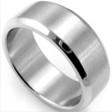 8mm Mens Gold Band (Stainless Steel Rings Men Women Wedding Band Silver Black Gold 8mm)